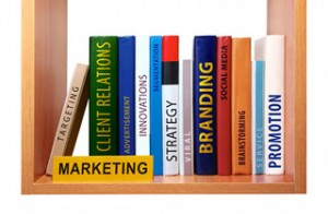Bookshelf with marketing knowledge and skills.